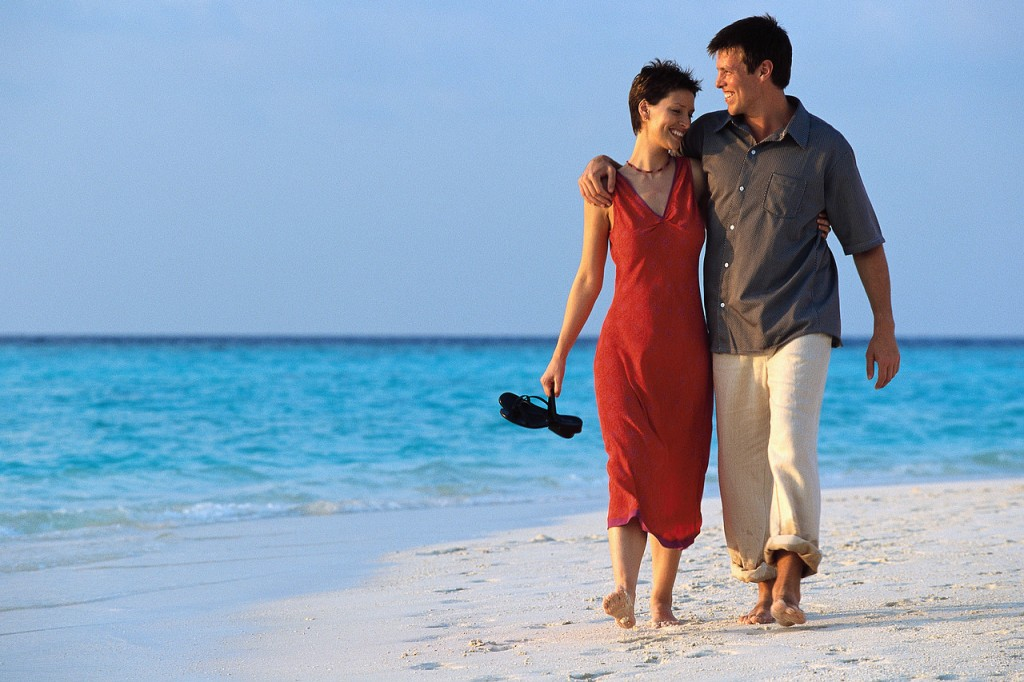Couple Strolling on Beach